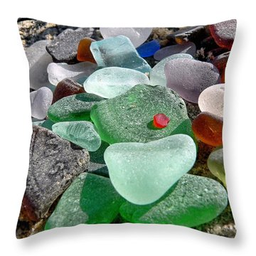 Throw Pillow featuring the photograph Sea Glass In Multicolors by Janice Drew