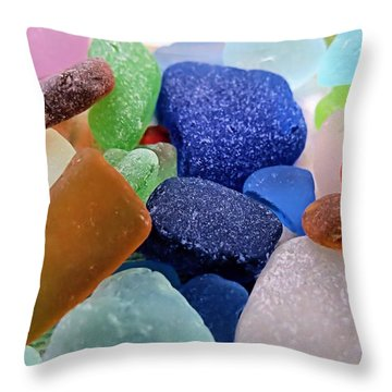 Sea Glass Of Many Colors Throw Pillow by Janice Drew