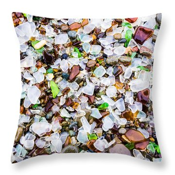 Sea Glass Treasures At Glass Beach Throw Pillow