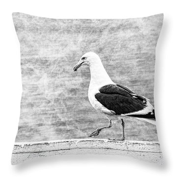 Sea Gull On Wharf Patrol Throw Pillow