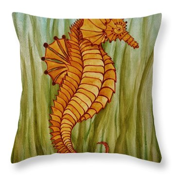 Throw Pillow featuring the painting Sea Horse by Katherine Young-Beck