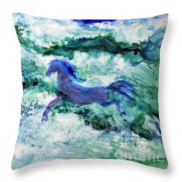 Throw Pillow featuring the painting Sea Horses by Joan Hartenstein