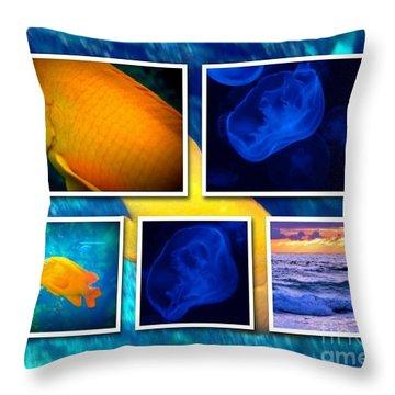 Sea Jelly Fish Throw Pillow by Susan Garren