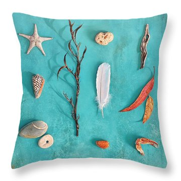 Throw Pillow featuring the painting Sea, Land And Sky by Elena Kolotusha