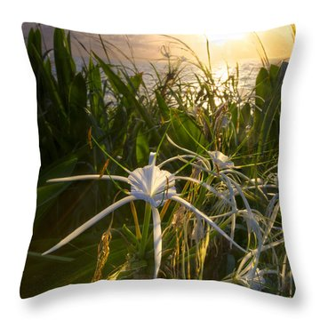 Sea Lily Throw Pillow by Debra and Dave Vanderlaan