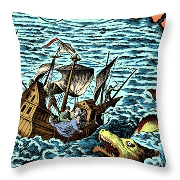 Sea Monster Attacking Ship, 1583 Throw Pillow by Science Source