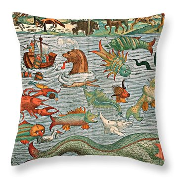 Sea Monsters 1544 Throw Pillow by Photo Researchers