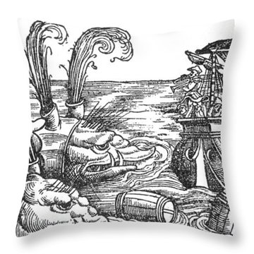 Sea Monsters Or Whales, 16th Century Throw Pillow by Photo Researchers