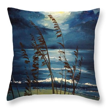 Sea Oats And Moonlight Throw Pillow