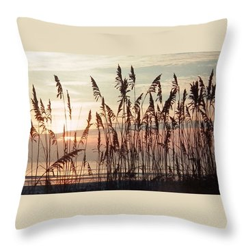 Spectacular Sea Oats At Sunrise Throw Pillow by Belinda Lee