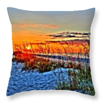 Sea Oats At Sunrise Throw Pillow