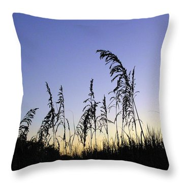 Sea Oats In Silhouette  Throw Pillow