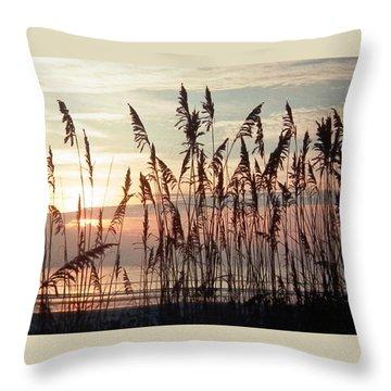 Fabulous Blue Sea Oats Sunrise Throw Pillow