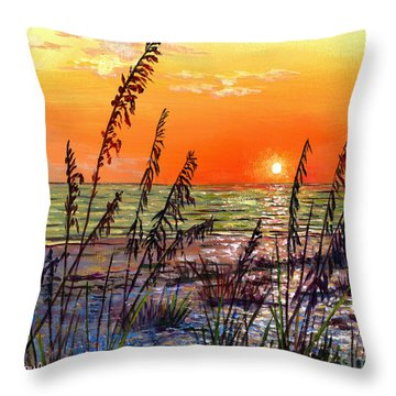 Sea Oats Sunset Throw Pillow by Lou Ann Bagnall