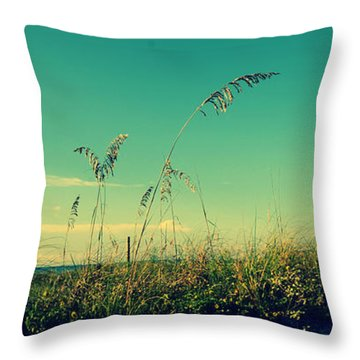 Sea Oats Under The Morning Sun In Sarasota Throw Pillow