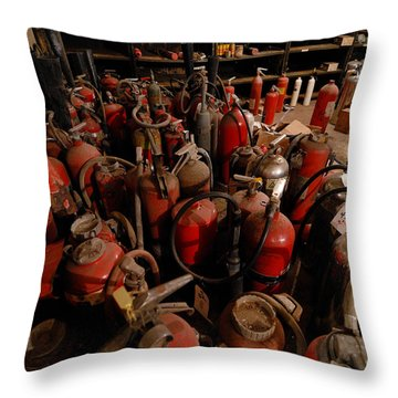 Sea Of Fire Extinguishers Throw Pillow by Amy Cicconi