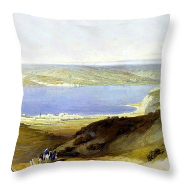 Sea Of Galilee Throw Pillow by Munir Alawi