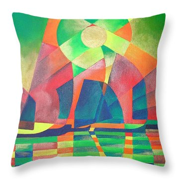 Throw Pillow featuring the painting Sea Of Green by Tracey Harrington-Simpson
