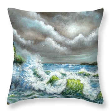Throw Pillow featuring the painting Sea Of Smiling Faces by Patrice Torrillo