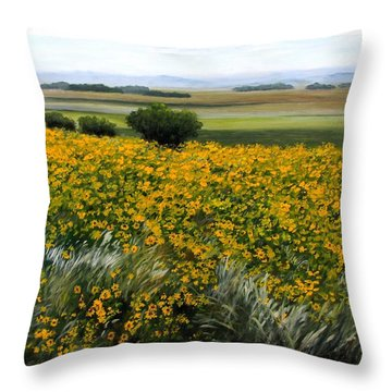Sea Of Sunflowers Throw Pillow