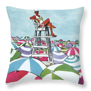 Sea Of Umbrellas Throw Pillow