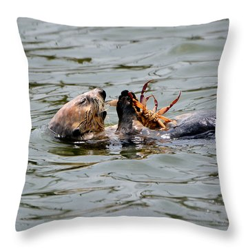 Sea Otter Munching On Crab Leg Throw Pillow