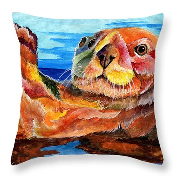 Sea Otter Throw Pillow by Sherry Shipley