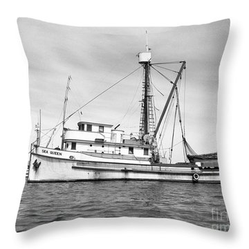 Purse Seiner Sea Queen Monterey Harbor California Fishing Boat Purse Seiner Throw Pillow