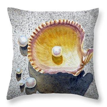 Sea Shell And Pearls Throw Pillow by Irina Sztukowski