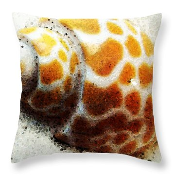 Sea Shell Beach Painting Art Throw Pillow by Sharon Cummings