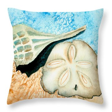 Sea Shell Treasures From The Ocean  Throw Pillow by Nan Wright