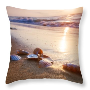 Sea Shells On Sand Throw Pillow