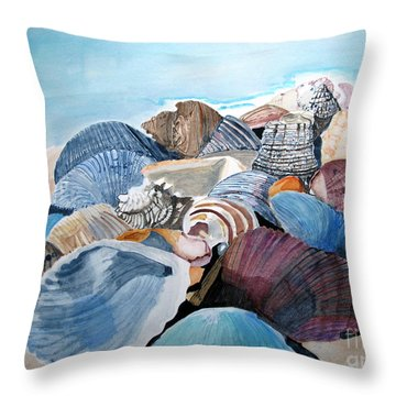 Sea Shells Throw Pillow by Sandy McIntire