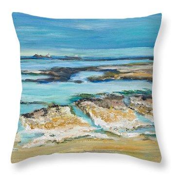 Sea Sky And Beach Throw Pillow