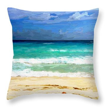 Sea Sky Sand Throw Pillow by James Shepherd