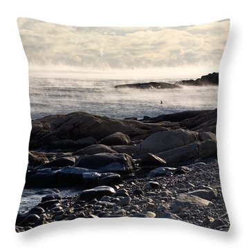 Sea-smoke At Schoodic Throw Pillow by Brent L Ander