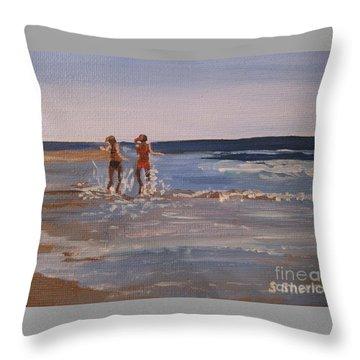 Sea Splashing On The Beach Throw Pillow