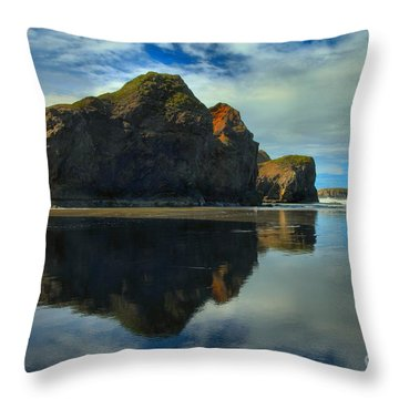 Sea Stack Swirls Throw Pillow by Adam Jewell