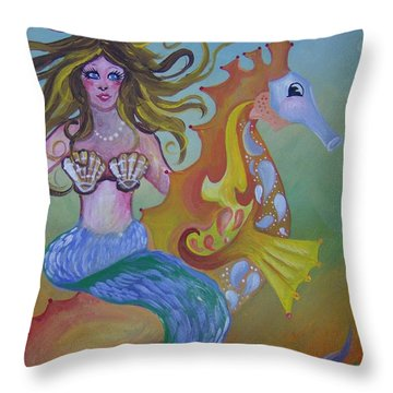 Sea Taxi Throw Pillow by Leslie Manley