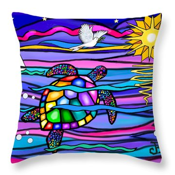Sea Turle In Blue And Pink Throw Pillow by Jean B Fitzgerald