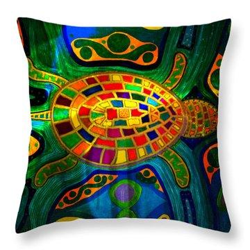Sea Turtle - Abstract Ocean - Native Art Throw Pillow
