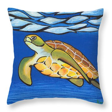 Sea Turtle Throw Pillow by Adam Johnson