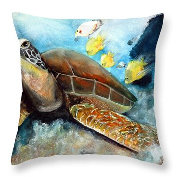 Throw Pillow featuring the painting Sea Turtle I by Bernadette Krupa