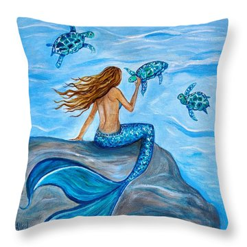 Sea Turtle Friends Throw Pillow by Leslie Allen