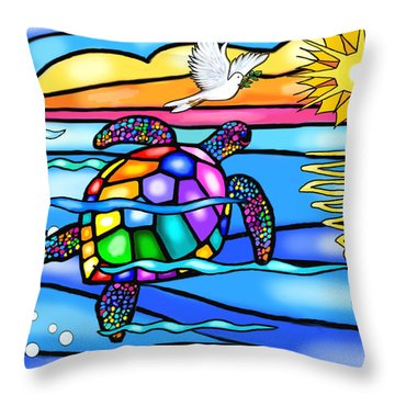 Sea Turtle In Turquoise And Blue Throw Pillow by Jean B Fitzgerald
