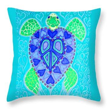 Sea Turtle Swim Throw Pillow by Nick Gustafson