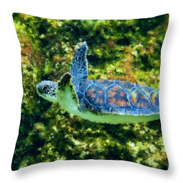 Sea Turtle Swimming In Water Throw Pillow by Dan Friend