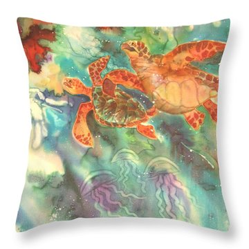 Sea Turtles Throw Pillow by Deborah Younglao
