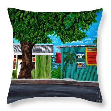 Throw Pillow featuring the painting Sea-view Cafe by Laura Forde