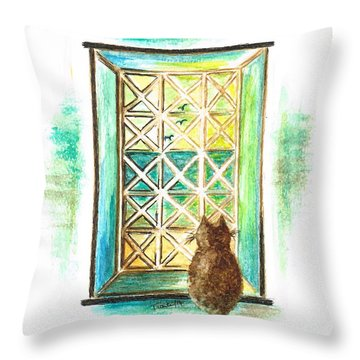 Curiosity - Cat Throw Pillow by Teresa White